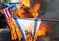 پرچم آمریکا و رژیم صهیونیستی در دشتستان به آتش کشیده شد