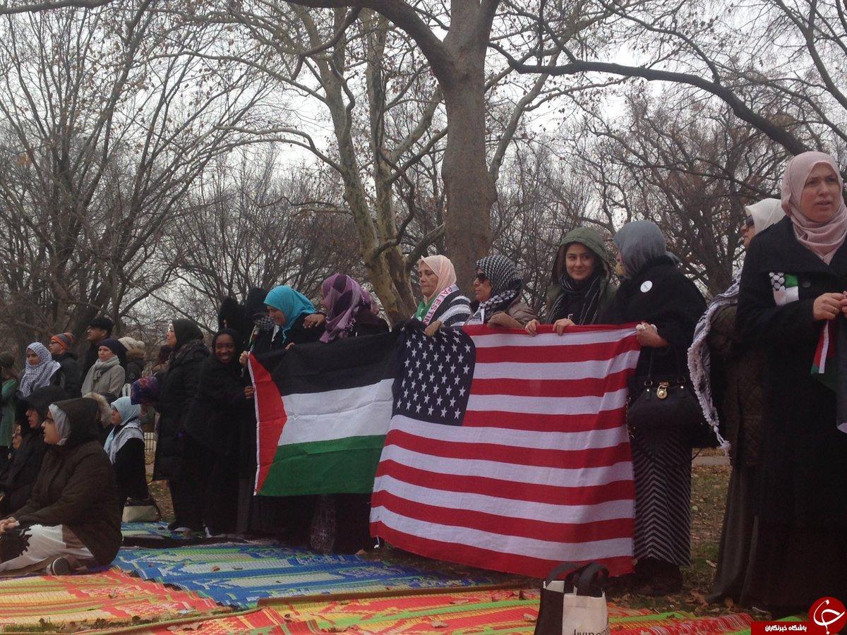 اقامه نماز جمعه مقابل کاخ سفید در اعتراض به اقدام ترامپ در خصوص قدس + تصاویر