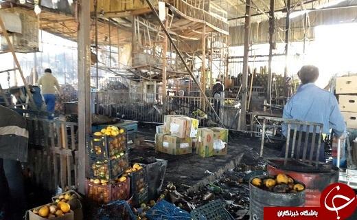 تصاویر/ میدان میوه و ترهبار قم در آتش سوخت