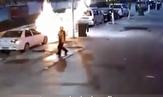 باشگاه خبرنگاران - جانفشانی مرد جوان برای نجات مادرش از خودروی درحال انفجار +فیلم
