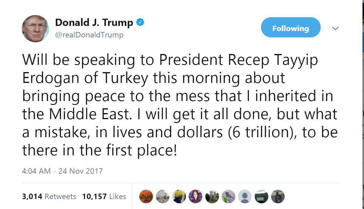 ترامپ: با اردوغان درباره بازگشت آرامش به خاورمیانه گفتگو خواهم کرد+توییت