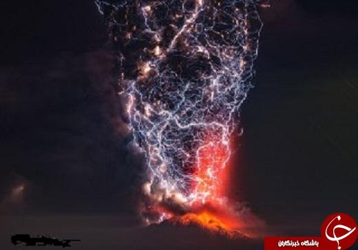 زیبایی آتش فشان ها با صاعقه +عکس