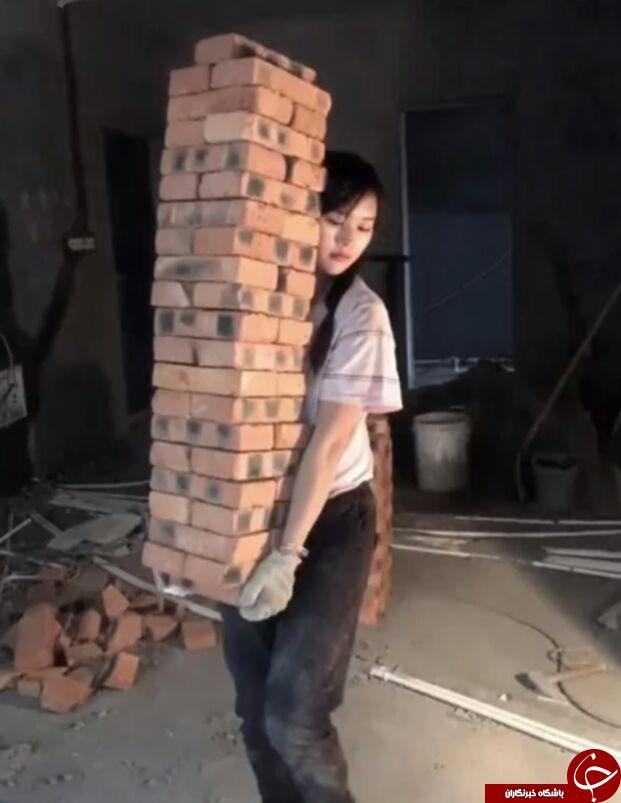 دختر کارگر ساختمانی که سوژه رسانه ها شد + تصاویر