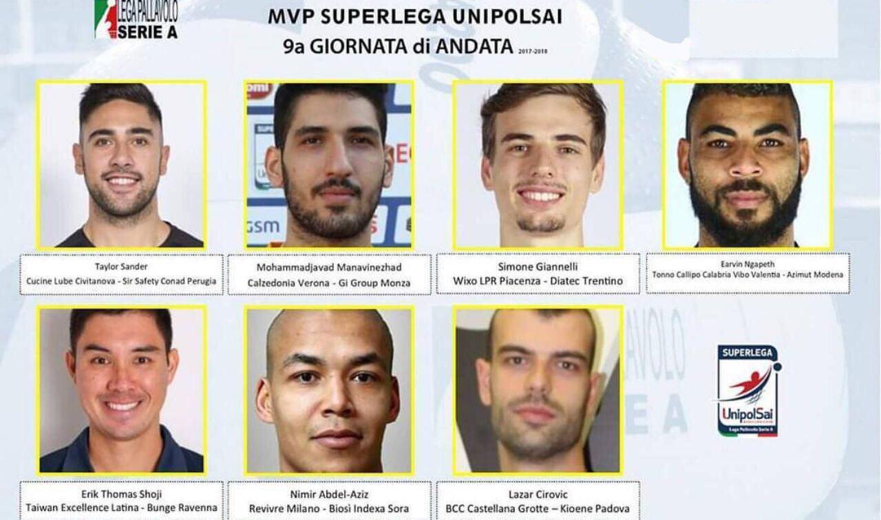 معنوی نژاد در جمع ارزشمندترین بازیکنان والیبال ایتالیا