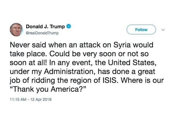 توئیت جدید ترامپ درباره حمله به سوریه