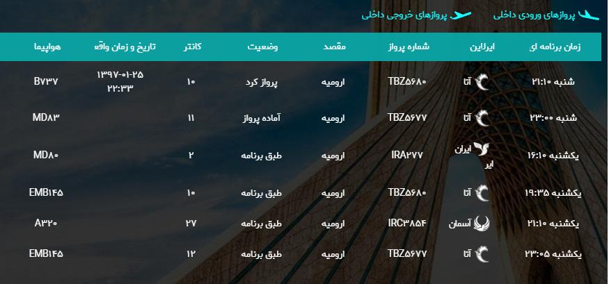 پروازهای یکشنبه ۲۶ فروردین ماه از فرودگاه بین المللی ارومیه