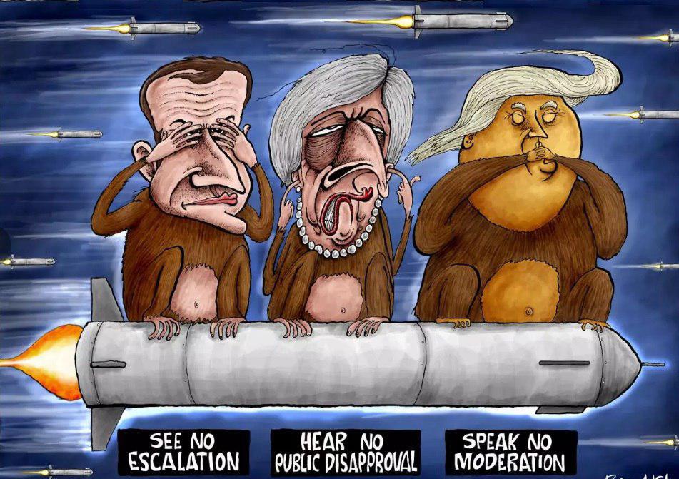 کاریکاتور روزنامه ایندیپندنت در تقبیح حمله موشکی آمریکا، انگلیس و فرانسه به سوریه
