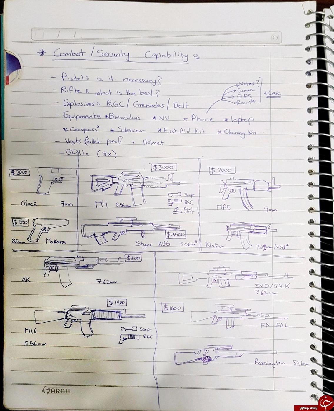 جزئیاتی از دفترچه یادداشت یک عنصر داعشی+ تصاویر/////////