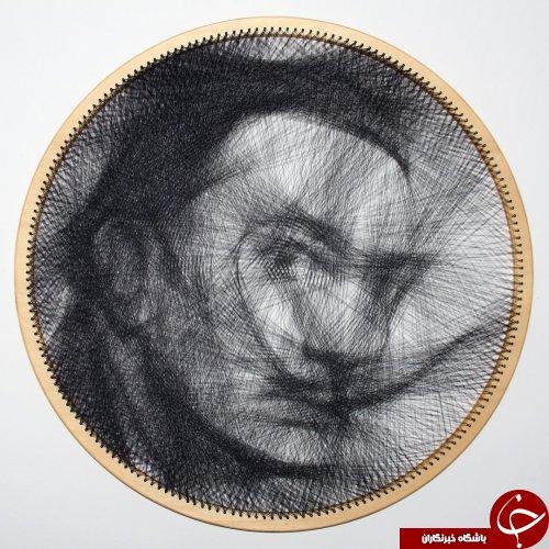 هنرمندی که تنها با یک نخ پرتره میکشد!