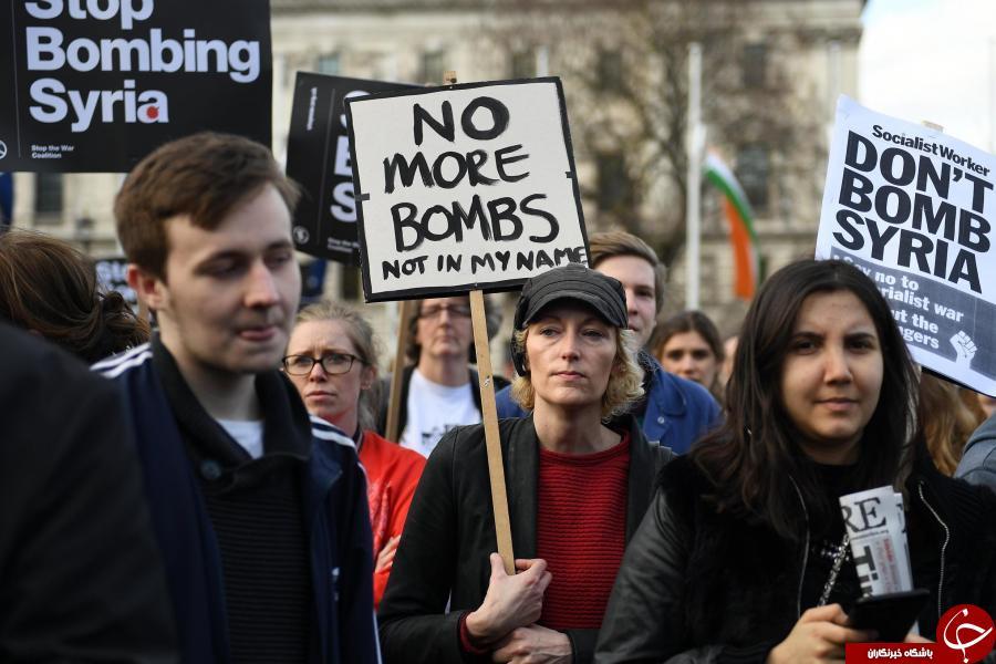 اعتراضات سراسری مردم انگلیس به حمله موشکی به سوریه/ عکس