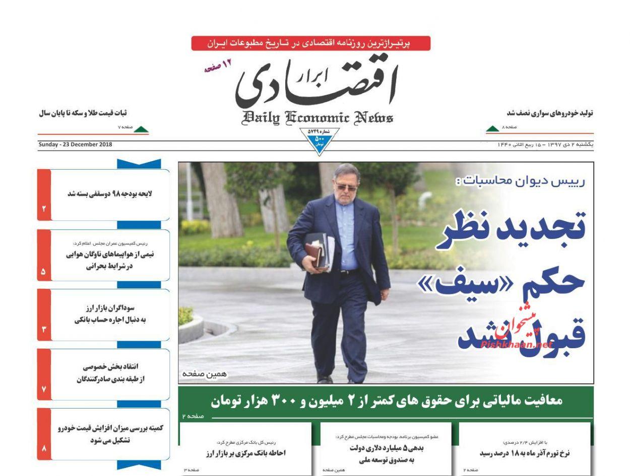 صفحه نخست روزنامههای اقتصادی ۲ دی ماه