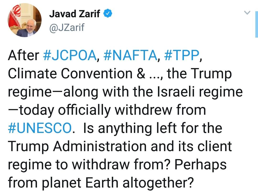 ظریف: شاید ترامپ از کره زمین هم خارج شود!