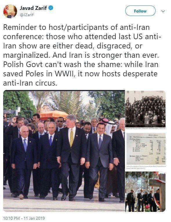 واکنش ظریف به نمایش ضد ایرانی جدید آمریکا در ورشو