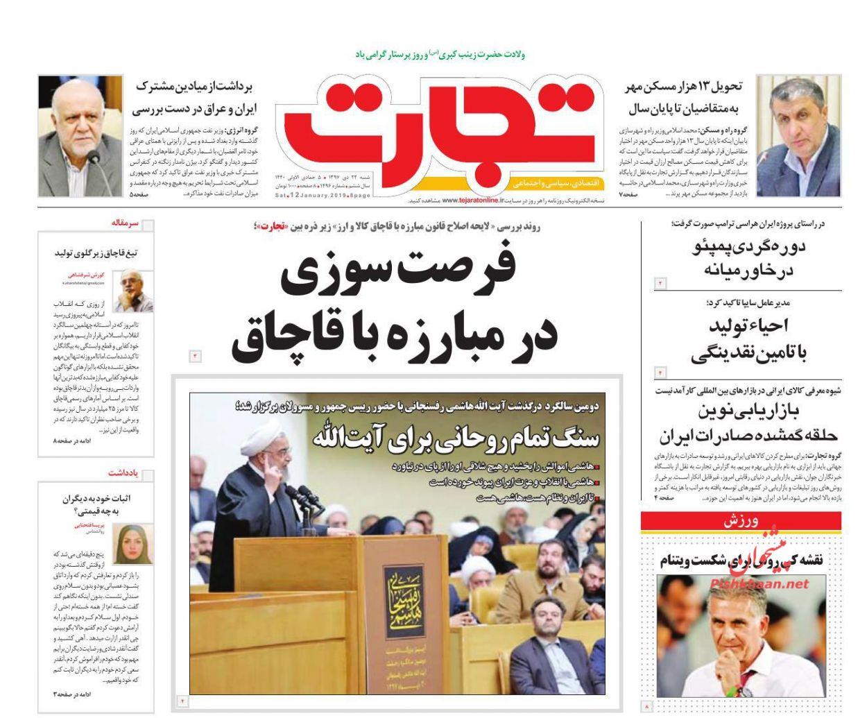 صفحه نخست روزنامههای اقتصادی ۲۲ دی ماه