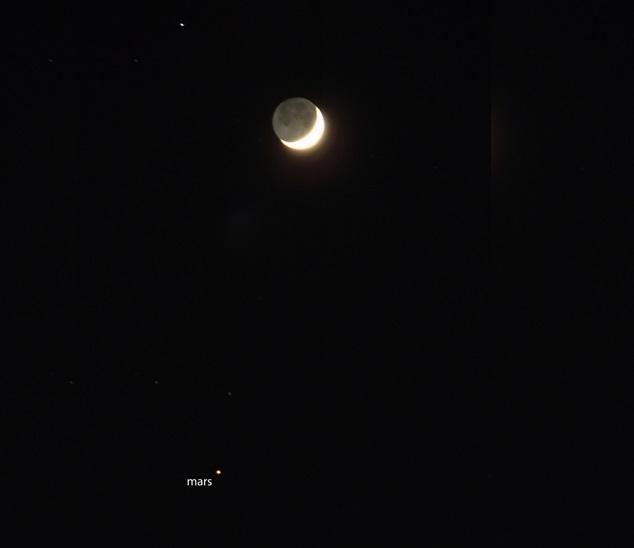 همنشینی ماه با سیاره سرخ