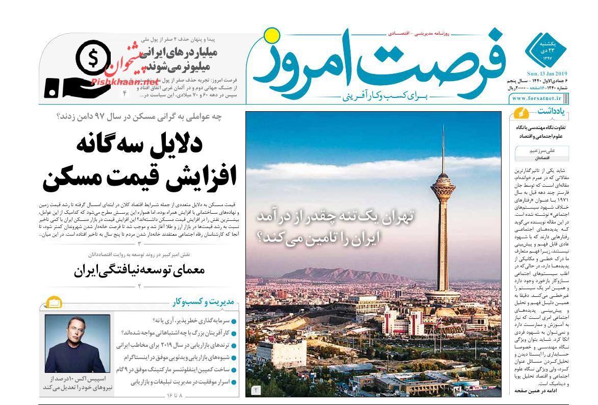 صفحه نخست روزنامههای اقتصادی ۲۳ دی ماه