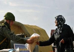 توزیع کمکهای انسان دوستانه روسیه در منبج سوریه