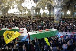 وداع با پیکر مطهر ۱۰ شهید دفاع مقدس و مدافع حرم در مشهد