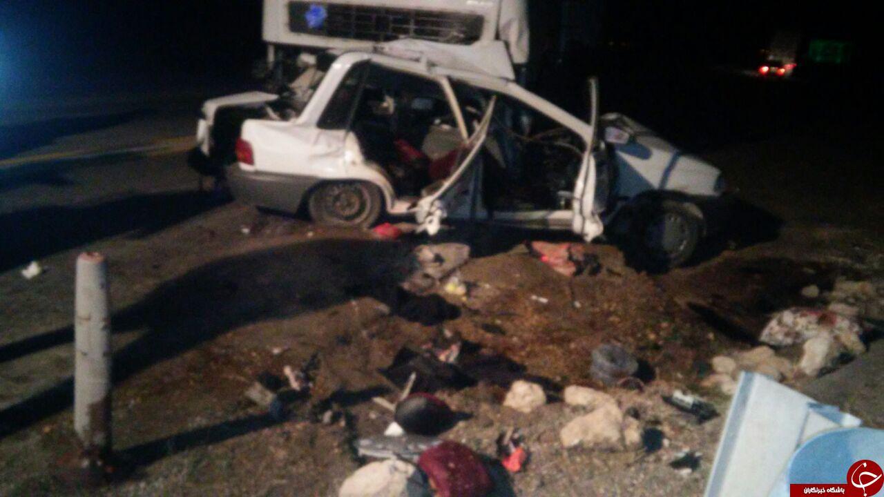 تصادف مرگبار کامیونت بنز با پراید در «فامنین» + تصاویر