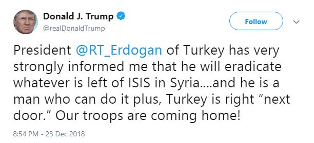 ترامپ: اردوغان به من گفته است داعش را در سوریه ریشهکن میکند