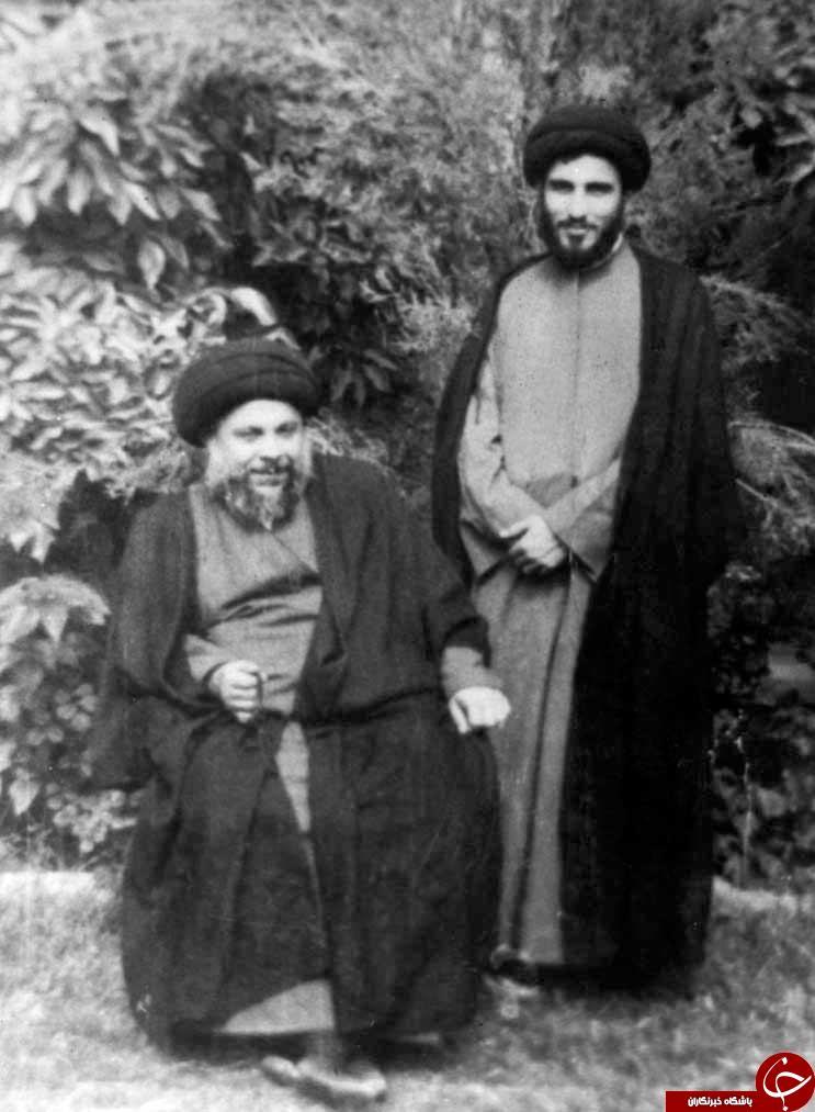 آیت الله هاشمی شاهرودی در کنار  آیت الله سیدمحمدباقر صدر