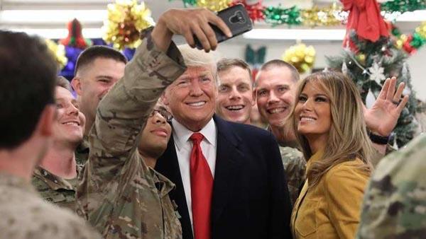 ترامپ در سفری غیرمنتظره وارد عراق شد