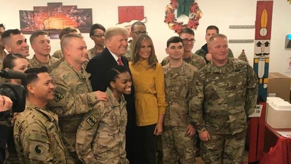 ترامپ در سفری غیرمنتظره وارد عراق شد + تصاویر