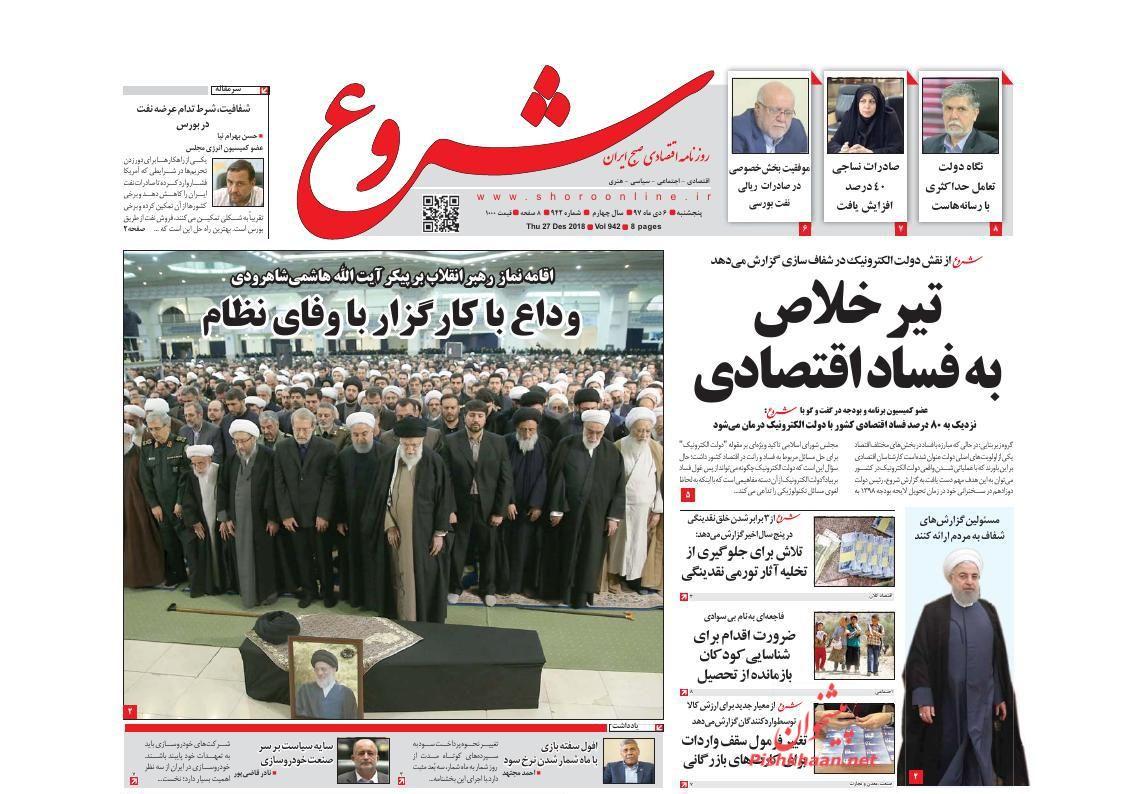 صفحه نخست روزنامههای اقتصادی ۶ دی ماه