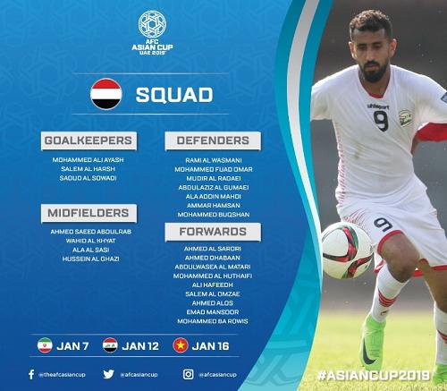 اسامی بازیکنان تیم ملی یمن برای حضور در جام ملتهای آسیا