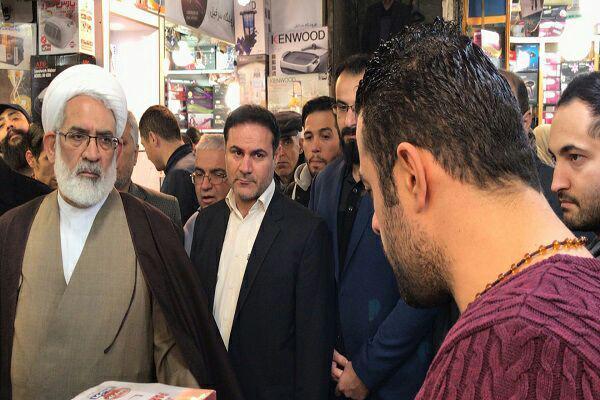 بازدید سرزده دادستان کل کشور از بازار تهران برای بررسی وضعیت اقتصادی