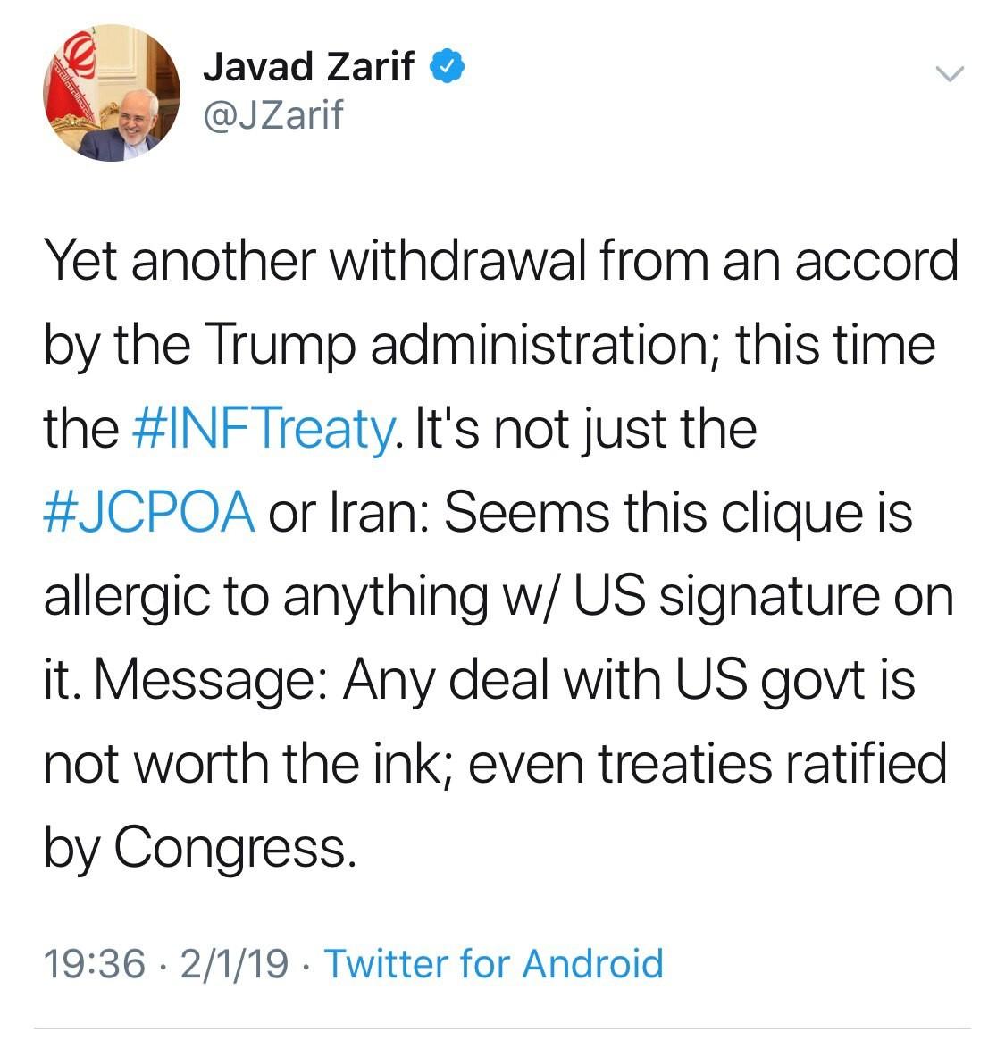 ظریف: ترامپ نشان داد توافق با آمریکا به اندازه جوهر روی کاغذ آن توافق هم ارزش ندارد