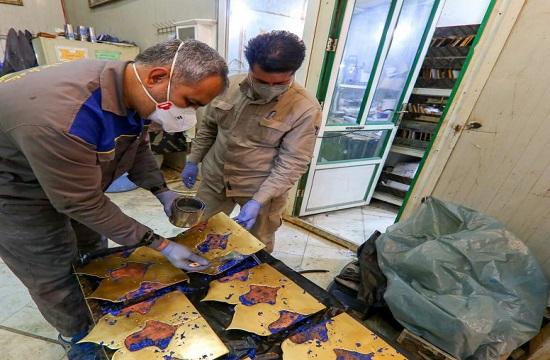 اتمام عملیات مرمت مناره جنوبی ایوان نجف با همت استادکاران ایرانی +تصاویر