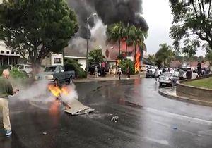 آتش گرفتن منازل مسکونی پس از سقوط هواپیما + فیلم