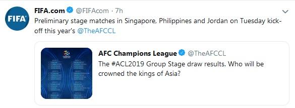 واکنش فیفا به شروع مسابقات لیگ قهرمانان آسیا ۲۰۱۹