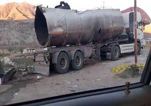 فیلمی از کامیون منفجر شده در حادثه شب گذشته خرم آباد