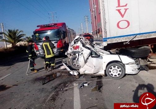 مجروح شدن ۲ نفر در برخورد شدید خودرو سواری ۲۰۶ با کامیون/وضعیت مصدومان وخیم است