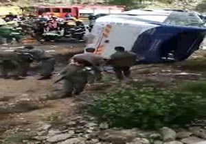 کشته و زخمی شدن 35 صهیونیست در حادثه واژگونی اتوبوس + فیلم