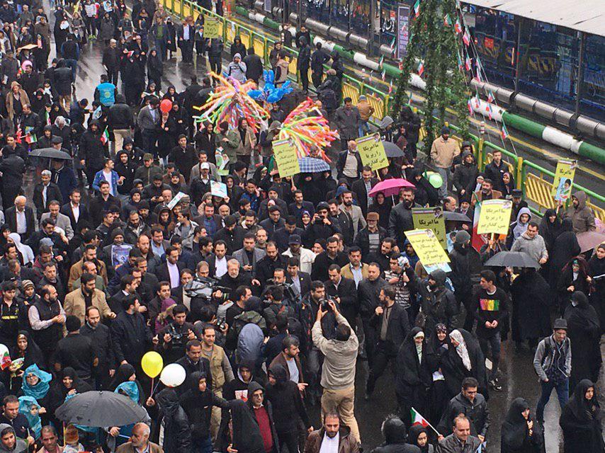 حضور رئیس مجلس شورای اسلامی در راهپیمایی ۲۲ بهمن تهران