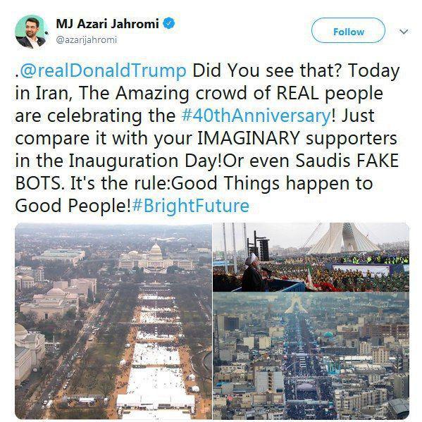 کنایه آذریجهرمی به ترامپ در روز ۲۲ بهمن