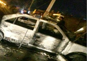 نشت گاز باعث انفجار خودرویی در نهاوند شد+فیلم