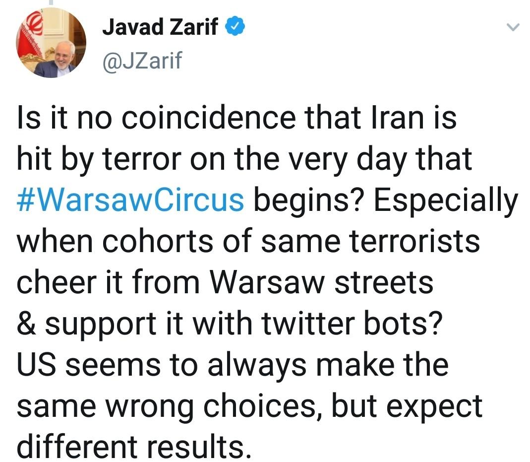 واکنش ظریف به حمله تروریستی در سیستان و بلوچستان