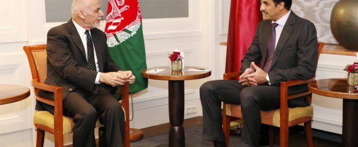 گفتگوی اشرف غنی و امیر قطر درباره روند صلح افغانستان