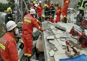 زیر آوار ماندن ۷ نفر بر اثر ریزش یک ساختمان ۶ طبقه در چین + فیلم