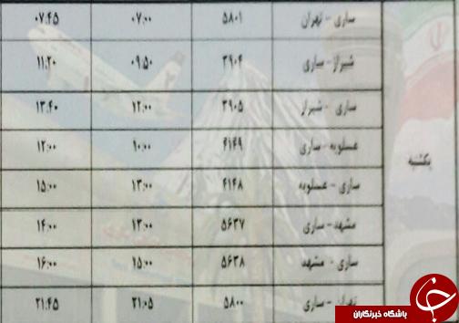 پروازهای یکشنبه ۲۸ بهمن ماه فرودگاههای مازندران