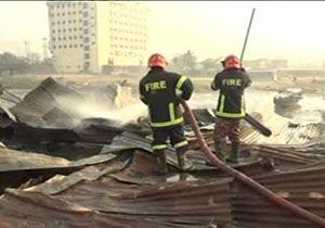 آتش سوزی در منطقه فقیرنشین بنگلادش با ۸ کشته + فیلم