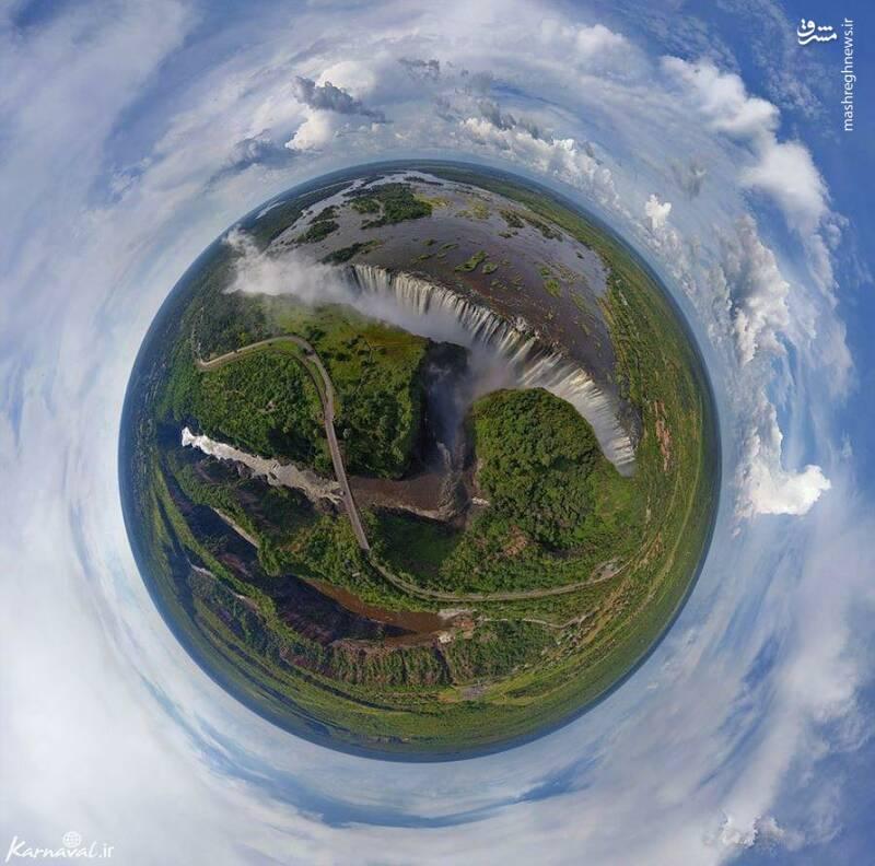 تصویر هوایی ۳۶۰ درجه از آبشار ویکتوریا