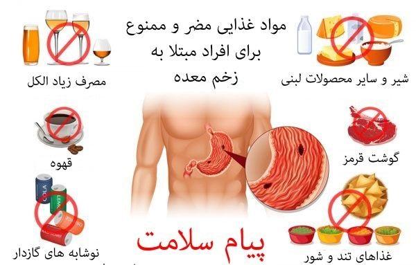 مواد غذایی ممنوعه برای مبتلایان به عارضه زخم معده +اینفوگرافی// یک شنبه