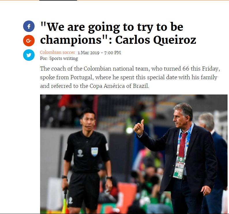 قول کی روش به هوادران فوتبال کلمبیا