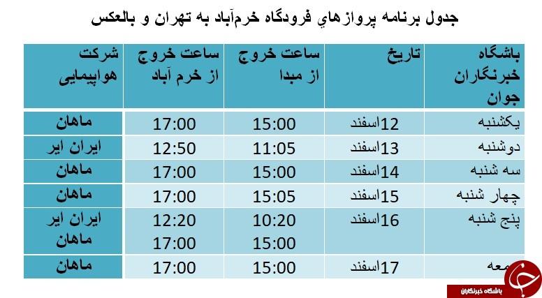 برنامه پروازهای فرودگاه خرمآباد از ۱۲ تا ۱۷ اسفندماه