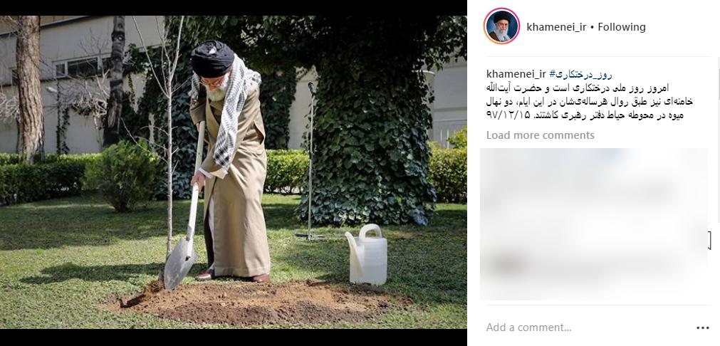 تصویری از رهبر انقلاب در روز درختکاری